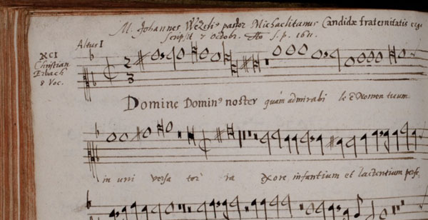 Page from a musical 'album amicorum' with motets (photo: Ratsbücherei Lüneburg).